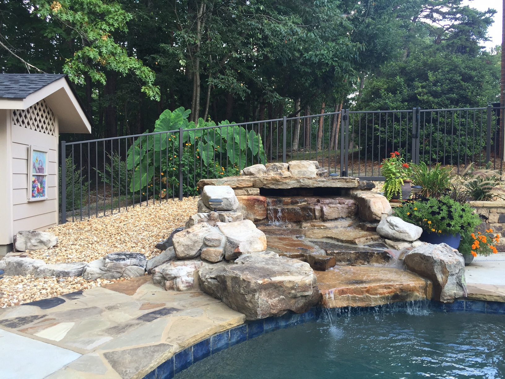 Pool waterfall garden