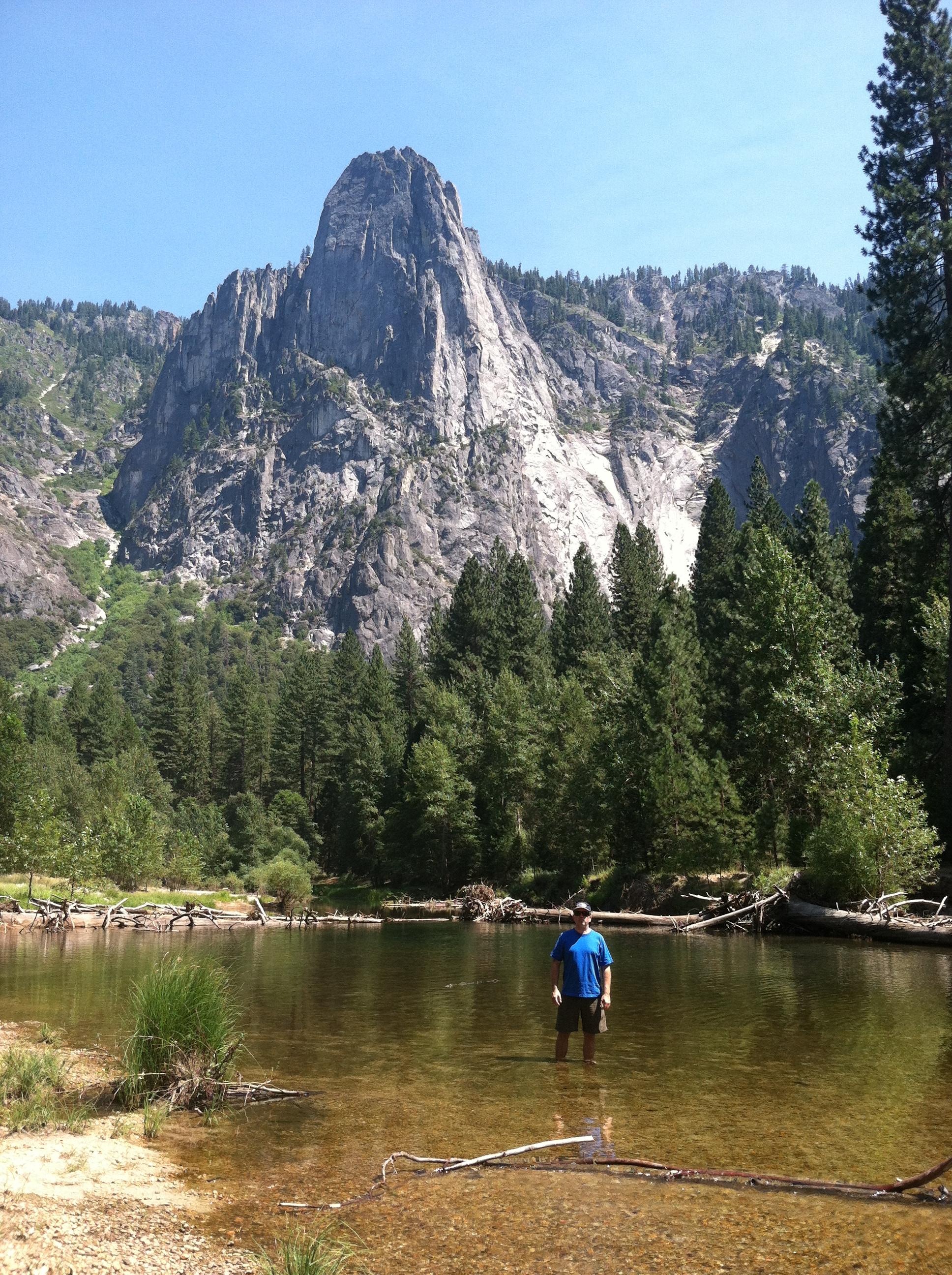 Wading after hiking at Yosemite