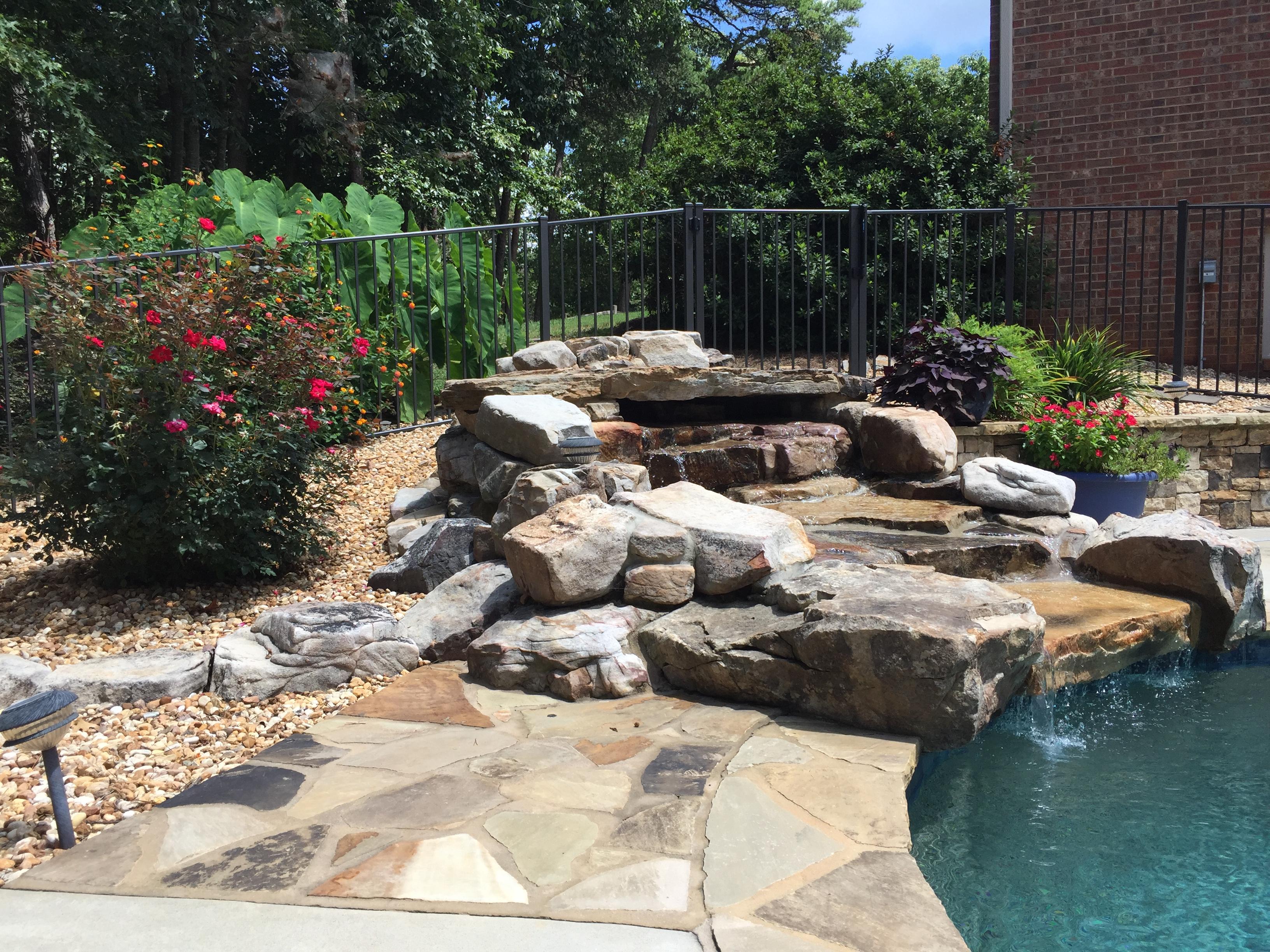 Pool waterfall plantings