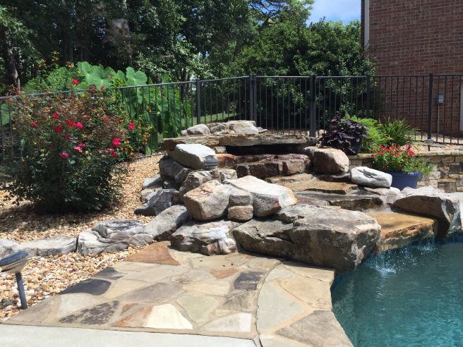Pool waterfall plantings