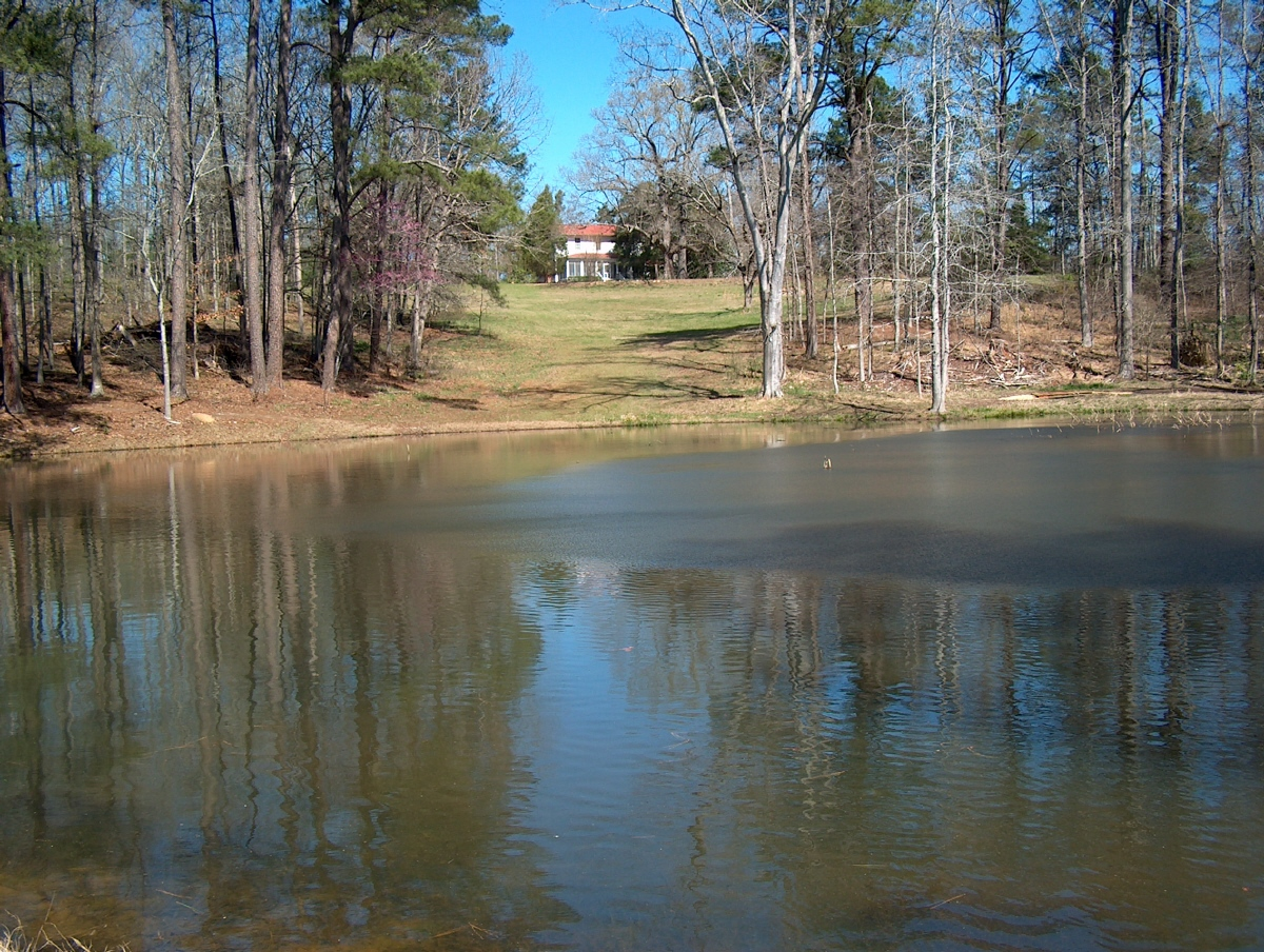 Restored pond and main house at Andalusia
