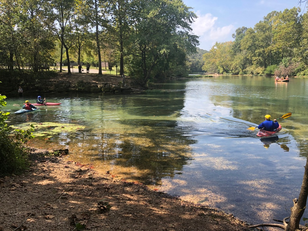 Kayakers entering Niangua River from Bennett Spring branch