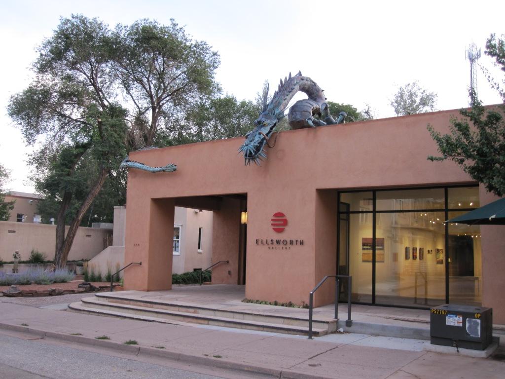 Dragon sculpture over Ellsworth Gallery in Santa Fe